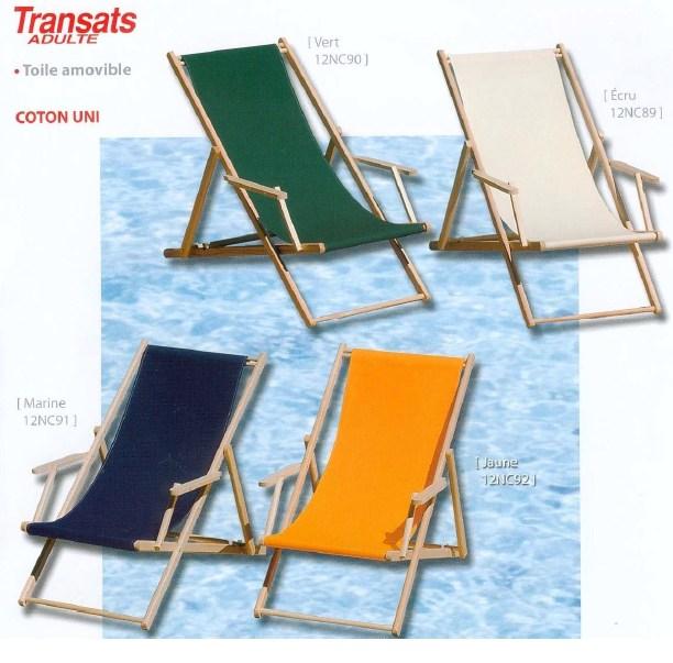 Transats chaises longues en toile avec accoudoirs for Transats chaises longues
